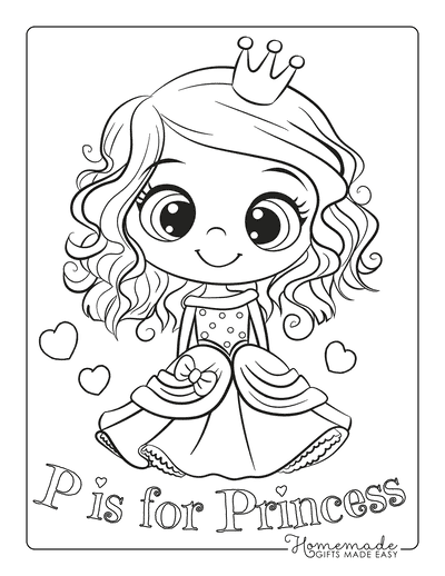 Princess Coloring Pages Large Eyes Cute