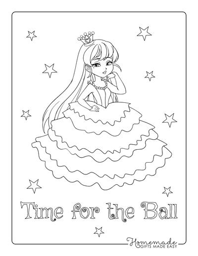 Princess Coloring Pages Layered Dress