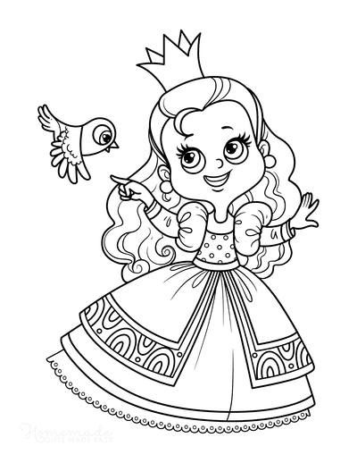 Princess Coloring Pages Little Bird Sweet