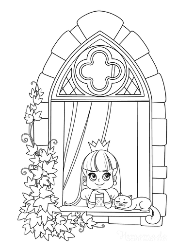 Princess Coloring Pages Looking Out Window Cat Vine