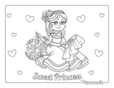 Princess Coloring Pages Needlework Rose