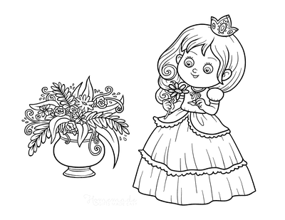Princess Coloring Pages Picking a Flower