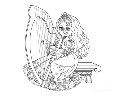 Princess Coloring Pages Playing Harp