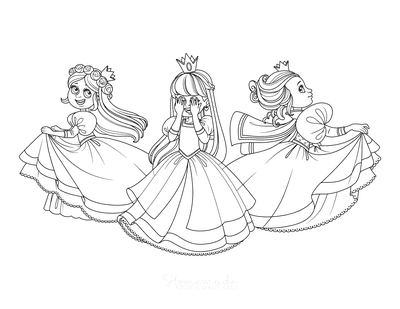 Princess Coloring Pages Playing Princesses