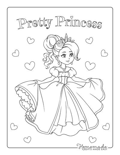 Princess Coloring Pages Pretty Dress