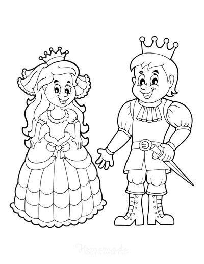 Princess Coloring Pages Prince Princess Cartoon