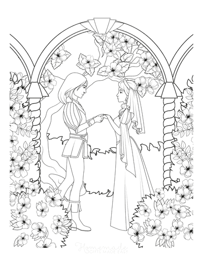 Princess Coloring Pages Prince Princess Holding Hands