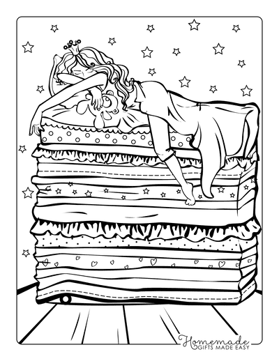 Princess Coloring Pages Princess and the Pea Mattresses