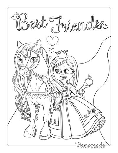 Princess Coloring Pages Princess Feeding Horse Apple