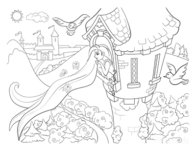 Princess Coloring Pages Princess in Tower Flowing Hair