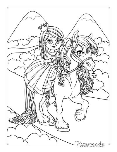 Princess Coloring Pages Princess Riding Horse Flowing Mane