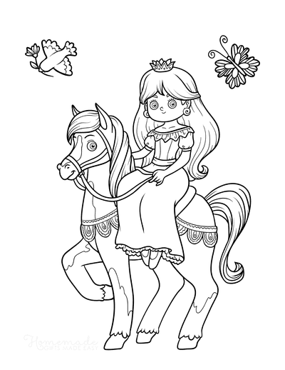 Princess Coloring Pages Riding Horse Bird Butterfly