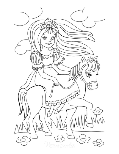 Princess Coloring Pages Riding Horse Flowers