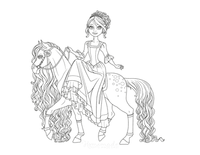 Princess Coloring Pages Riding Horse Side Saddle Flowing Mane