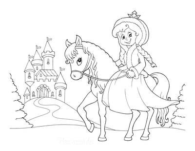 Princess Coloring Pages Riding Horse to Castle