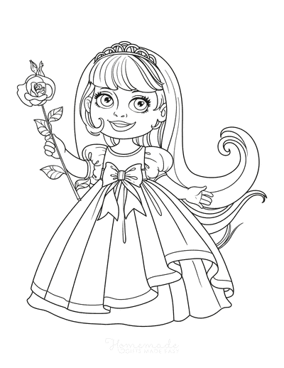 Princess Coloring Pages Sweet Princess With Rose