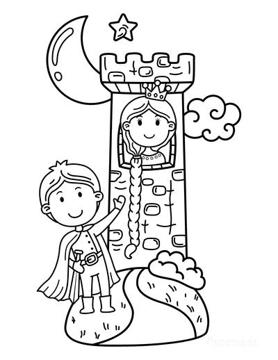 Princess Coloring Pages Tower Long Plait Prince Rapunzel Cartoon
