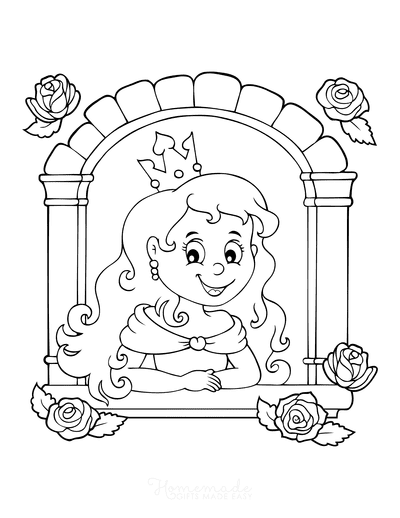 Princess Coloring Pages Tower Window