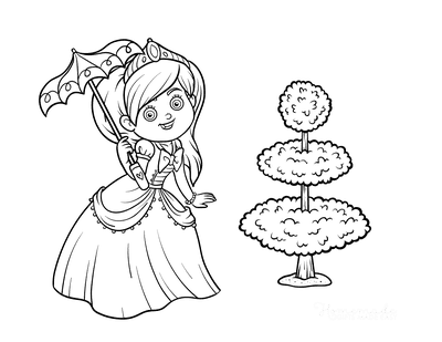 Princess Coloring Pages Walking in the Garden