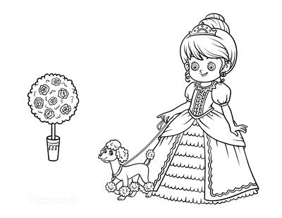 Princess Coloring Pages Walking Poodle Dog