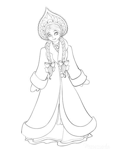 Princess Coloring Pages Winter Cloak