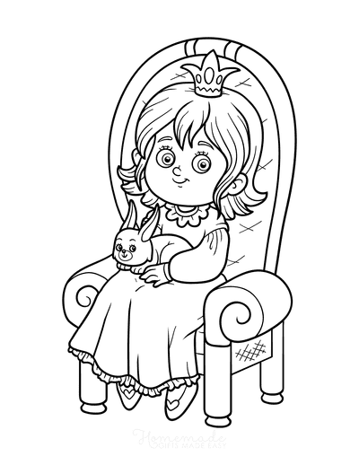 Princess Coloring Pages With Bunny Rabbit