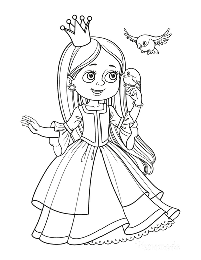 Princess Coloring Pages With Little Birds