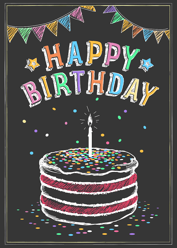 printable birthday cards - Cake and Confetti Chalkboard