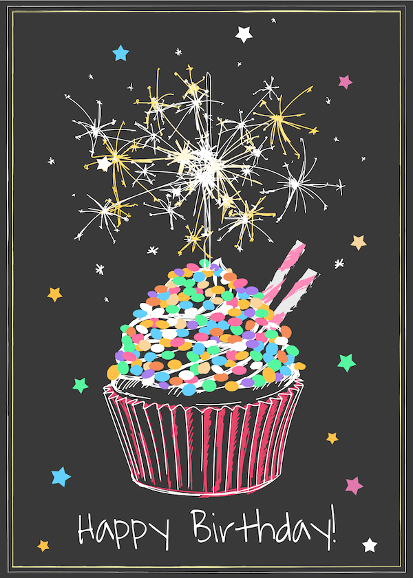 printable birthday cards - Cake and Sparklers Chalkboard