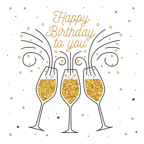printable birthday cards - Champagne