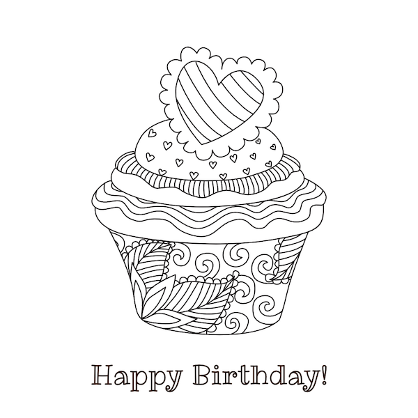 printable birthday cards - Coloring Cupcake