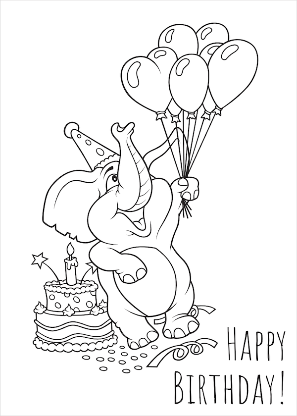 printable birthday cards - Coloring Elephant
