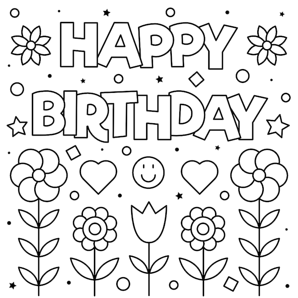 printable birthday cards - Coloring Flowers