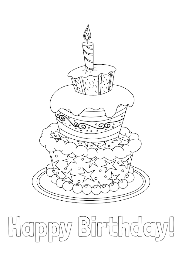 printable birthday cards - Coloring Layered Cake