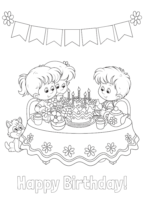 printable birthday cards - Coloring Party