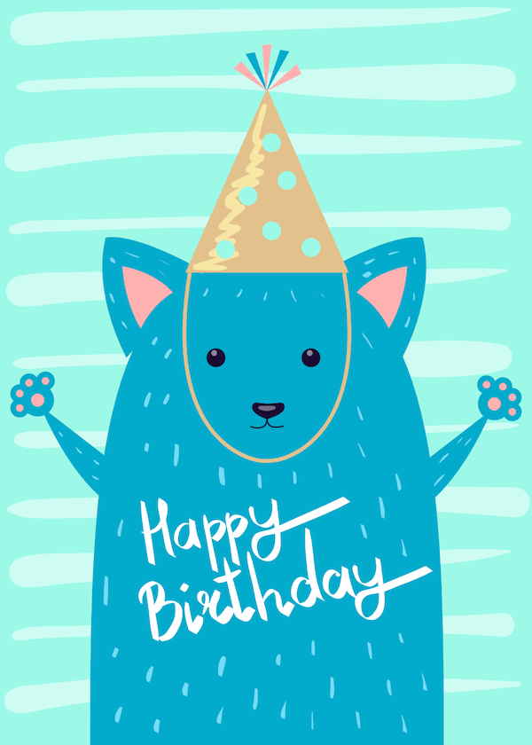 printable birthday cards - Hamster in Party Hat