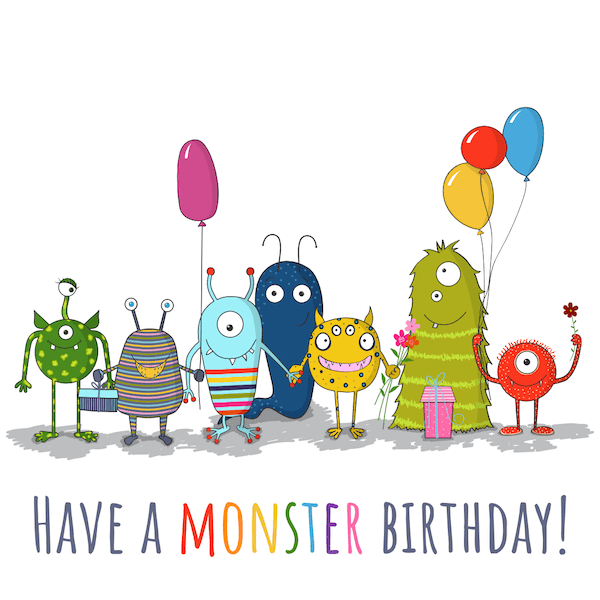 printable birthday cards - Monster Party