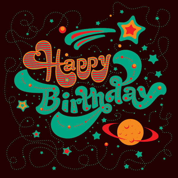 printable birthday cards - Planets and Stars