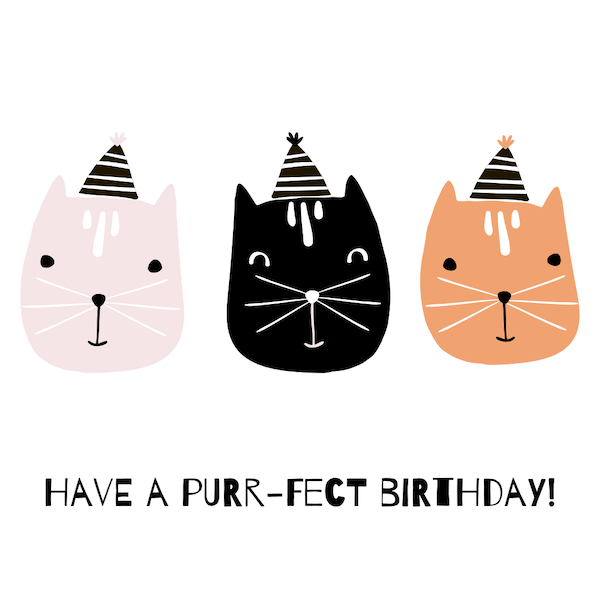 printable birthday cards - Have A Purr-fect Birthday Cat Card