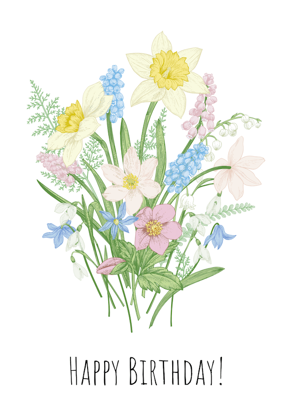 printable birthday cards - Spring Bouquet