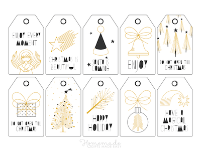 Printable Christmas Tags Black Gold Angel Gift Tree Star Bell Ornament 10