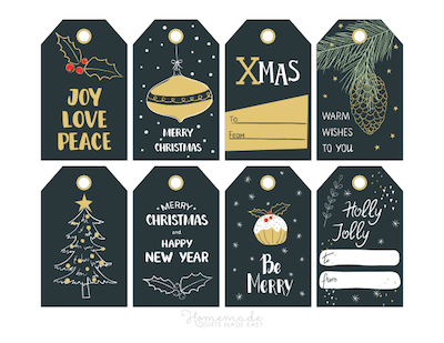 Printable Christmas Tags Black Gold Holly Pudding Ornament Pinecone Tree 8