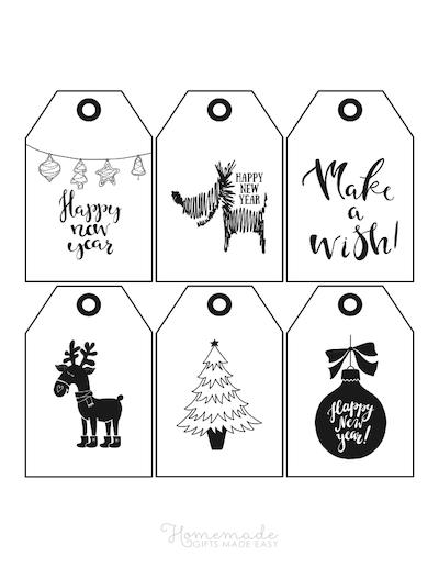 Printable Christmas Tags Black White Deer Dog Bauble Tree 6