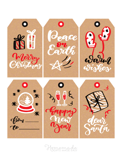 Printable Christmas Tags Black White Red Paper Snowglobe Mittens Gifts 6