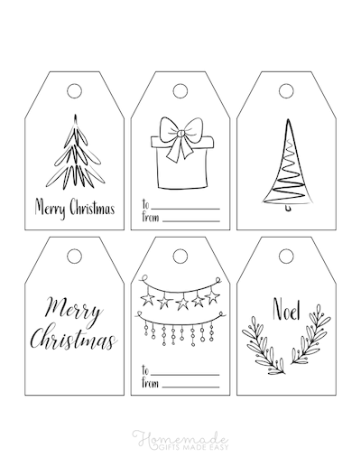 Printable Christmas Tags Black White Simple Drawn Tree Gift Ornaments 6