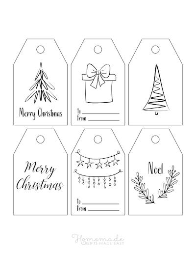 Printable Christmas Tags Black White Simple Drawn Tree Gift Ornaments 6