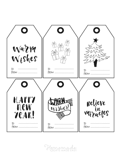 Printable Christmas Tags Black White to From Word Art 6