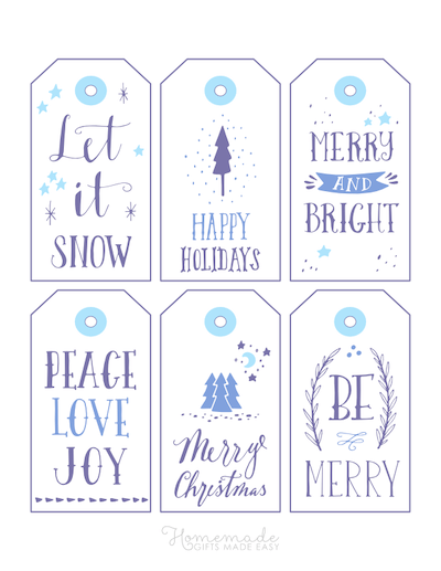Printable Christmas Tags Blue Purple Wordart 6