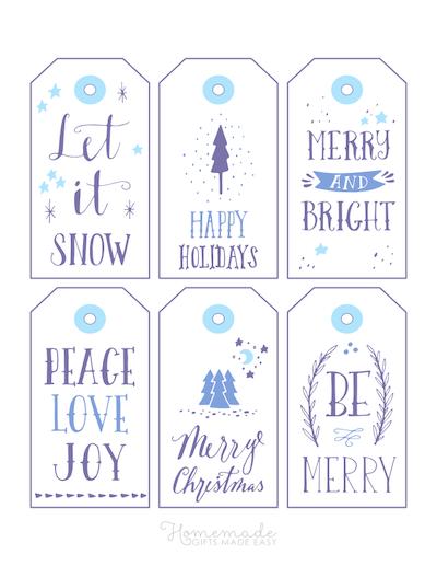 Printable Christmas Tags Blue Purple Wordart 6