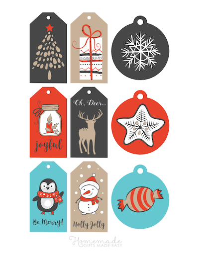 Printable Christmas Tags Blue Red Gold Grey Tree Gifts Candle Star Penguin Snowman Deer 9
